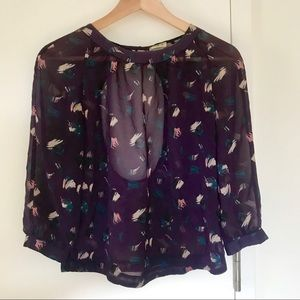 Urban Outfitters semi-sheer purple open-back top